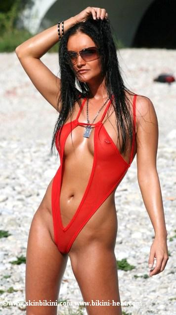 BY-0741 See-Thru Mesh Open Front Sexy Monokini Bikini red front view