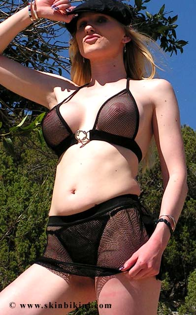 3 piece fishnet see thru micr bikini skirt set