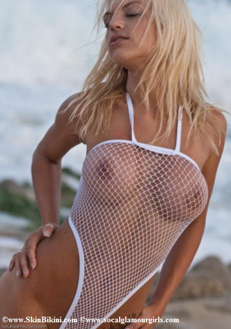 BY-0902 One Piece See-Thru Fishnet Sexy Monokini white front view
