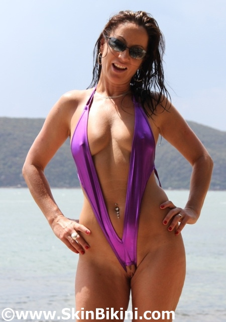 shiny purple monokini