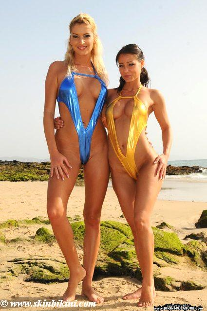 shiny blue and gold monokini