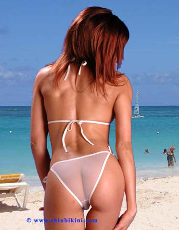 BY-0505 Mesh Sheer See-thru Micro-Mini Brazilian Bikini white front view