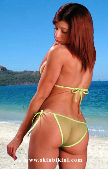 BY-0505 Mesh Sheer See-thru Micro-Mini Brazilian Bikini green back view