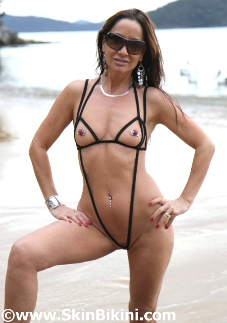 Naughty String Slingshot Bikini by skinbikini.com in black - front