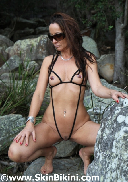 Naughty slingshot string only bikini by skinbikini - front shot 2