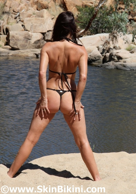 BY1203 - Clit Micro Bikini Thong Back See-Thru in black back view