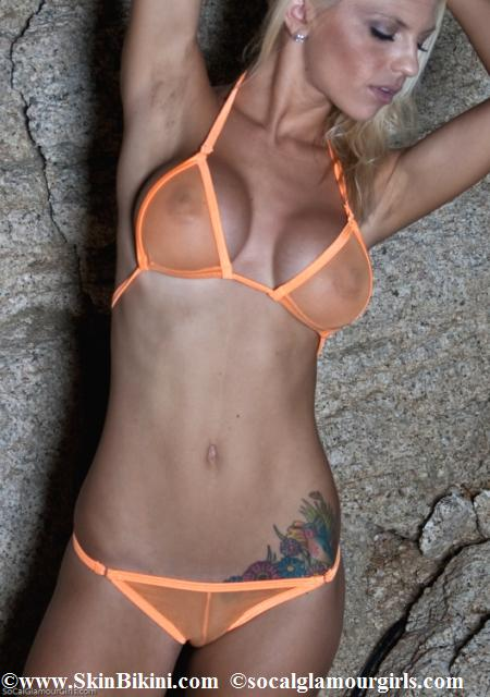 BY-4003 Mini Bikini Thong See-Through Mesh Swimwear orange front view