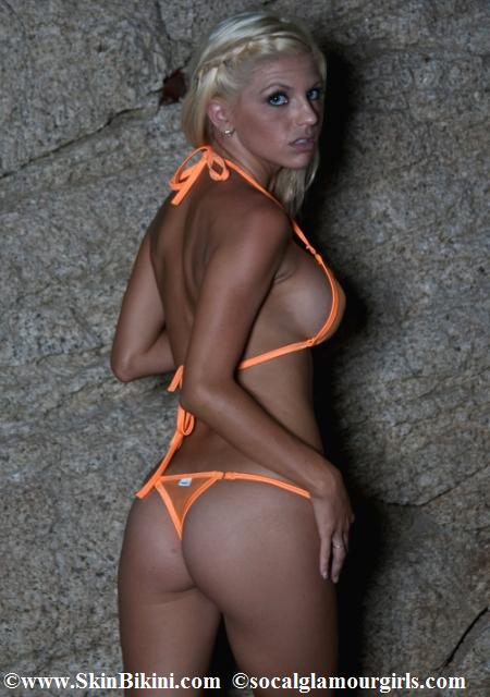 BY-4003 Mini Bikini Thong See-Through Mesh Swimwear orange back view