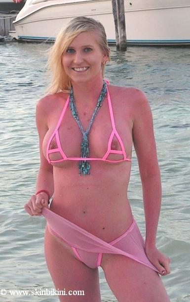 see through micro bikini skirt set pink from skinbikini.com
