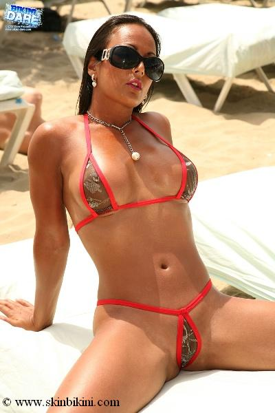 BY-011R Red Metallic Mini See-Thru Teardrop G-String Bikini