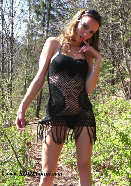 C-41131 Super Mini Dress Hand Crochet Round Fringes + Panties