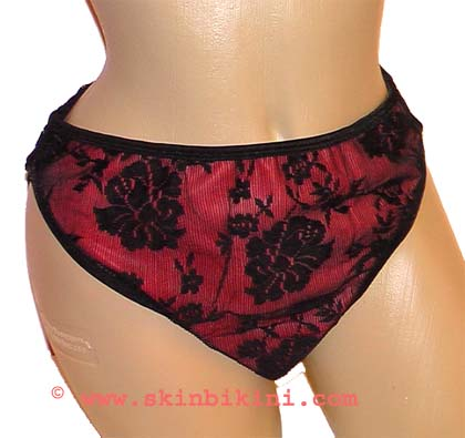 M-1206 HOT BLACK LACE RED LATEX RUBBER SISSY SEXY PANTIES BRIEF