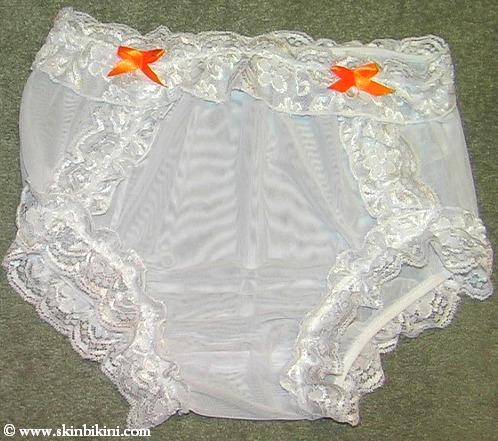M-1300 See-Thru Mesh Sissy Panties with Lace Adult Baby