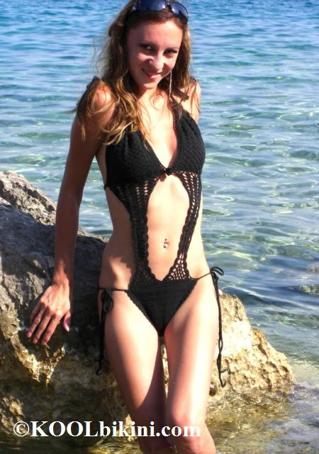 C-41071 - Pillar Front Crochet Monokini Hand-Made